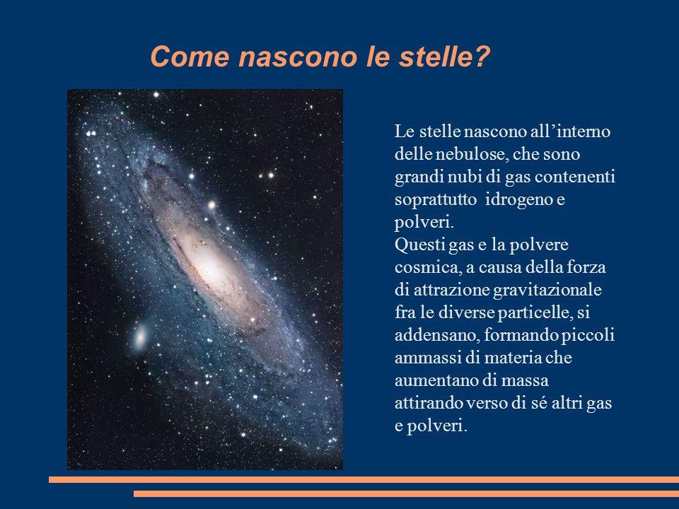 Come nascono le stelle? Le stelle nascono allinterno delle nebulose, che sono grandi nubi di gas contenenti soprattutto idrogeno e polveri. Questi gas
