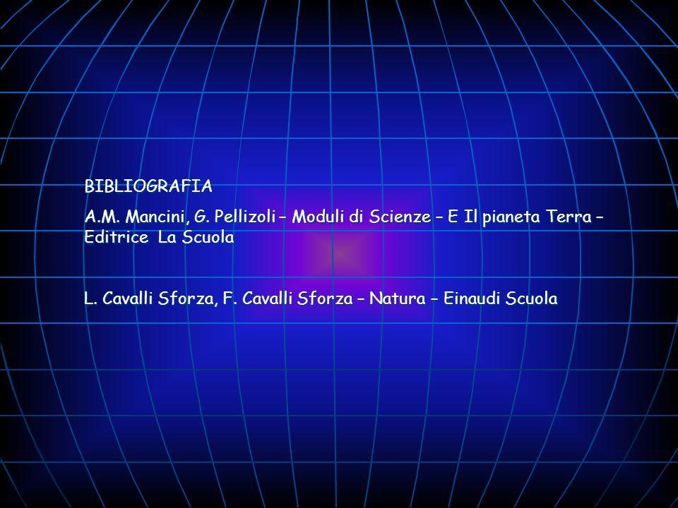 BIBLIOGRAFIA A.M. Mancini, G. Pellizoli – Moduli di Scienze – E Il pianeta Terra – Editrice La Scuola L. Cavalli Sforza, F. Cavalli Sforza – Natura –