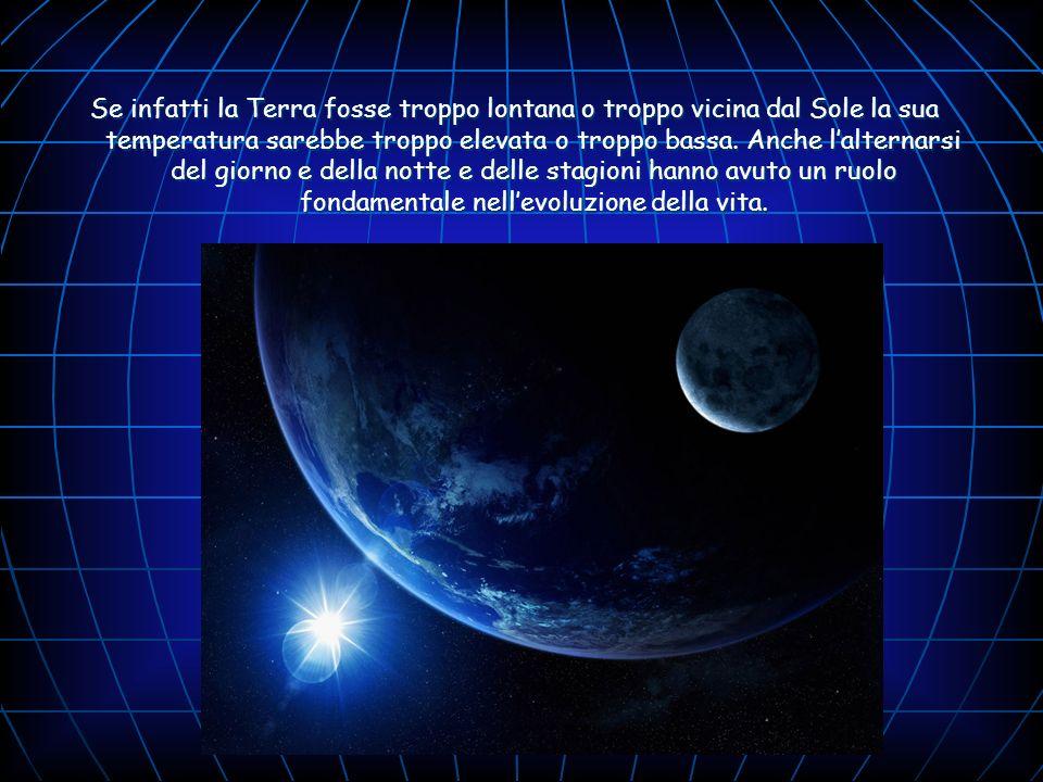 Se infatti la Terra fosse troppo lontana o troppo vicina dal Sole la sua temperatura sarebbe troppo elevata o troppo bassa. Anche lalternarsi del gior