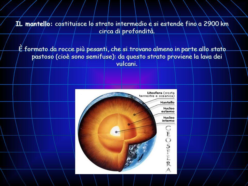 IL mantello: costituisce lo strato intermedio e si estende fino a 2900 km circa di profondità. È formato da rocce più pesanti, che si trovano almeno i