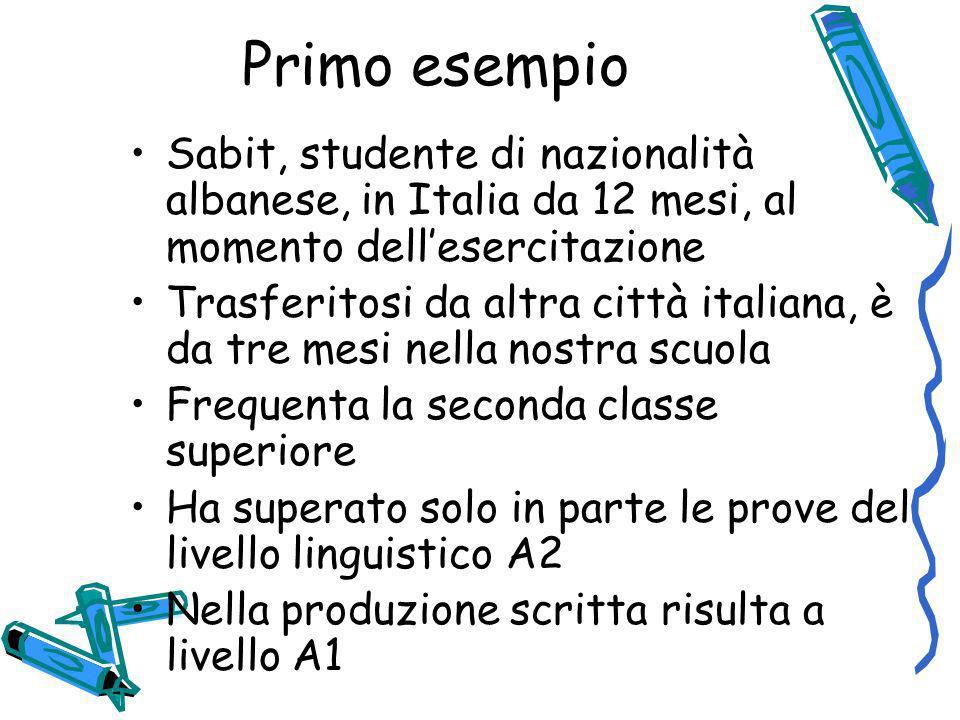Primo esempio Sabit, studente di nazionalità albanese, in Italia da 12 mesi, al momento dellesercitazione Trasferitosi da altra città italiana, è da t