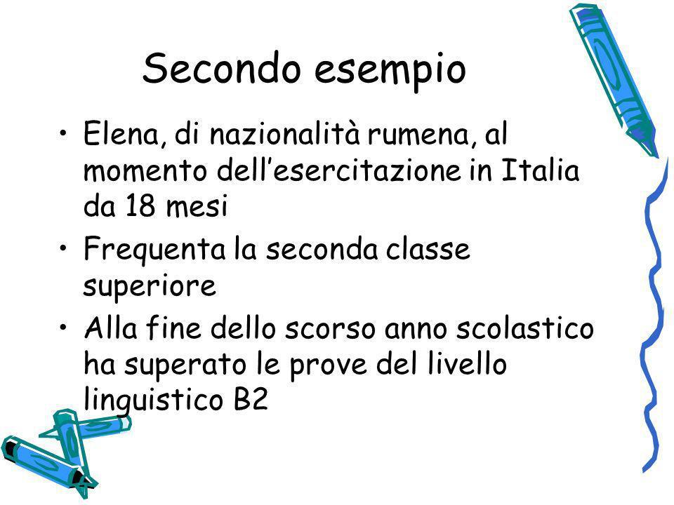 Secondo esempio Elena, di nazionalità rumena, al momento dellesercitazione in Italia da 18 mesi Frequenta la seconda classe superiore Alla fine dello