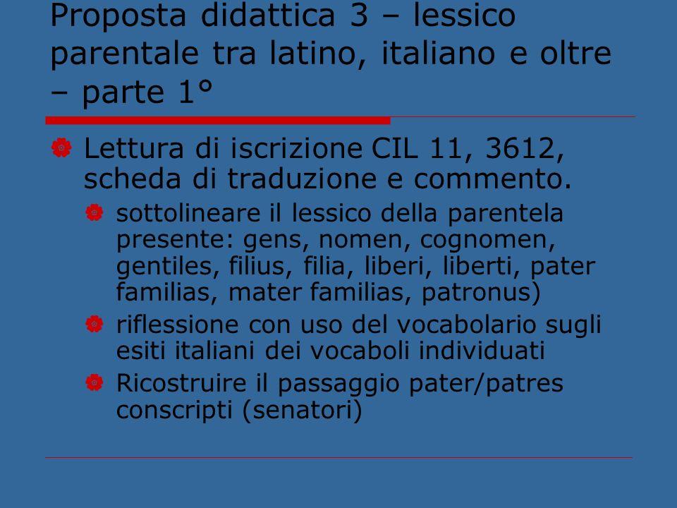 Proposta didattica 3 – lessico parentale tra latino, italiano e oltre – parte 1° Lettura di iscrizione CIL 11, 3612, scheda di traduzione e commento.