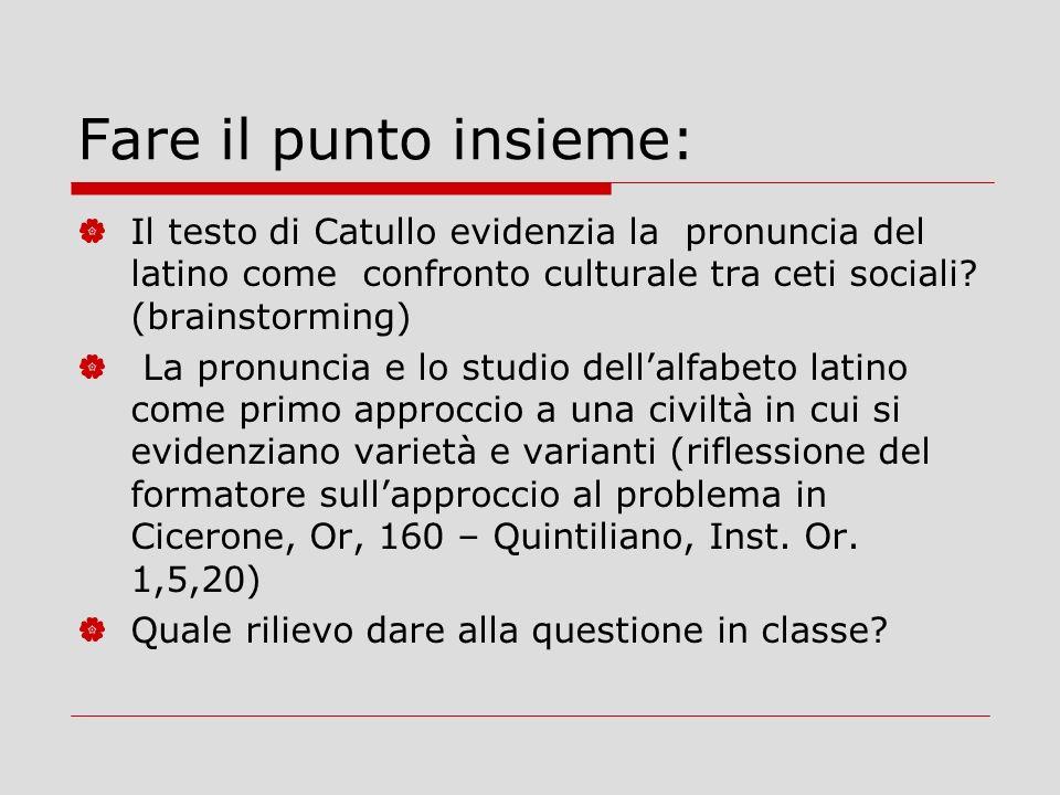 Fare il punto insieme: Il testo di Catullo evidenzia la pronuncia del latino come confronto culturale tra ceti sociali.