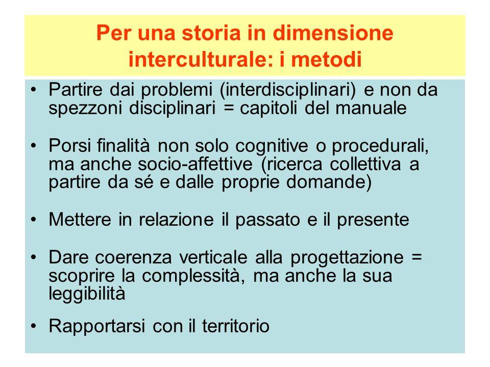 Per una storia in dimensione interculturale: i metodi Partire dai problemi (interdisciplinari) e non da spezzoni disciplinari = capitoli del manuale P