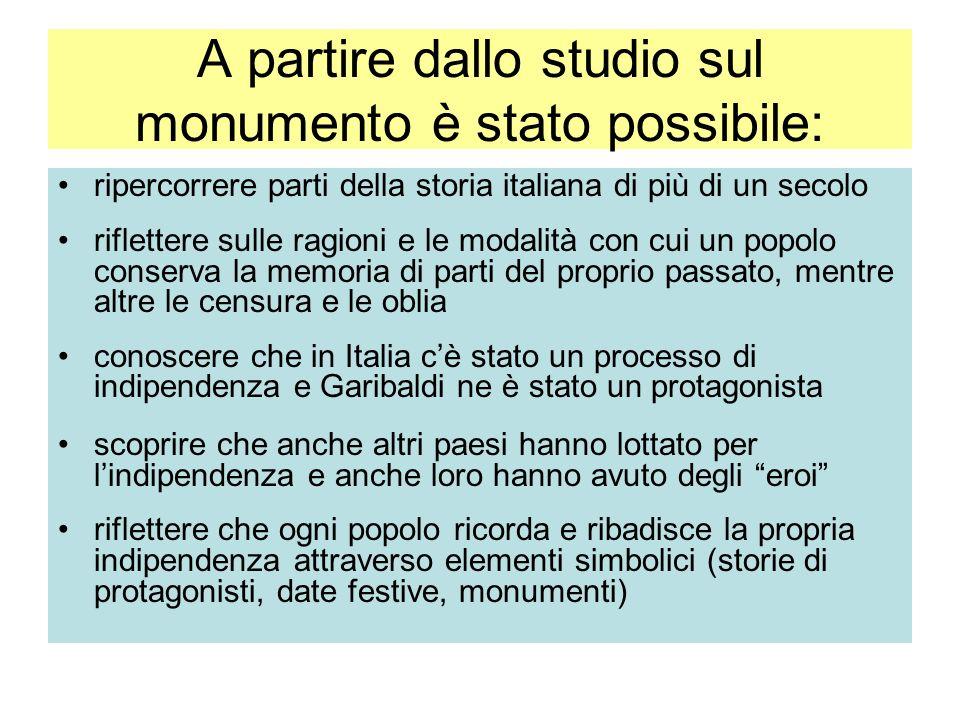 A partire dallo studio sul monumento è stato possibile: ripercorrere parti della storia italiana di più di un secolo riflettere sulle ragioni e le mod