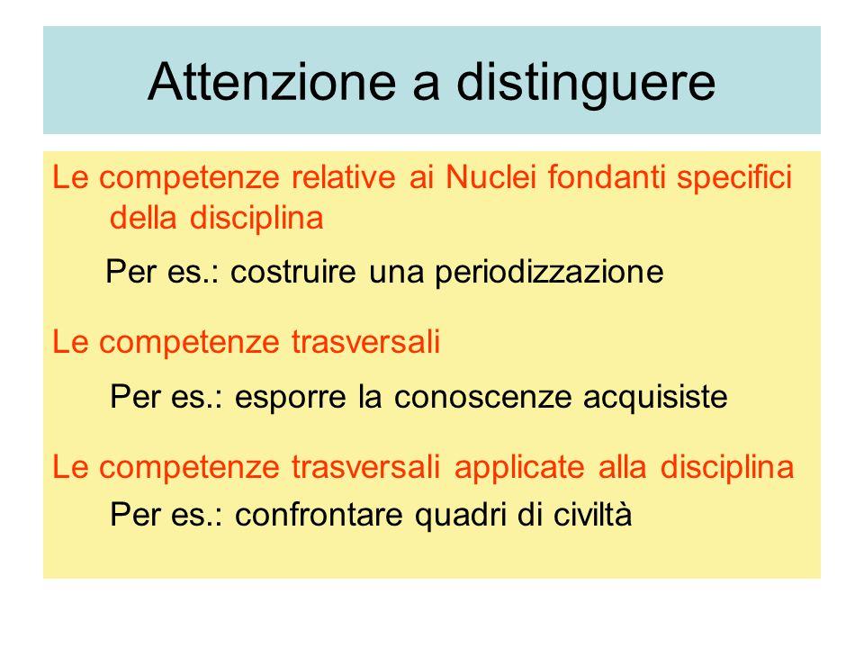 Attenzione a distinguere Le competenze relative ai Nuclei fondanti specifici della disciplina Per es.: costruire una periodizzazione Le competenze tra