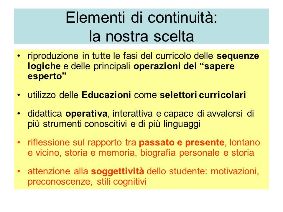 Elementi di continuità: la nostra scelta riproduzione in tutte le fasi del curricolo delle sequenze logiche e delle principali operazioni del sapere e