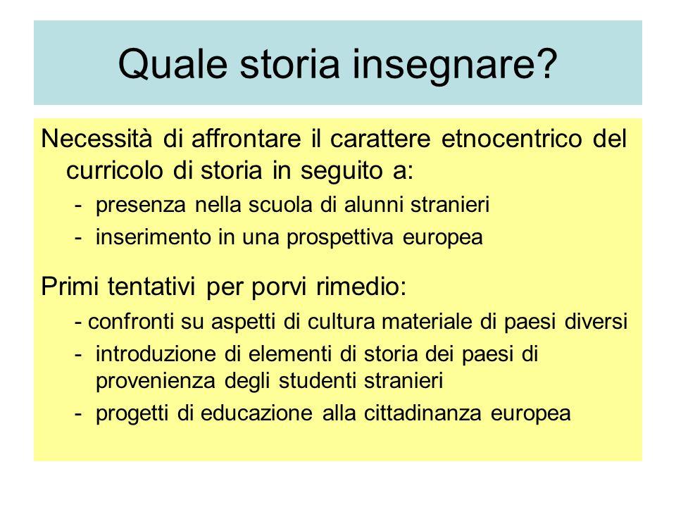 Quale storia insegnare? Necessità di affrontare il carattere etnocentrico del curricolo di storia in seguito a: -presenza nella scuola di alunni stran