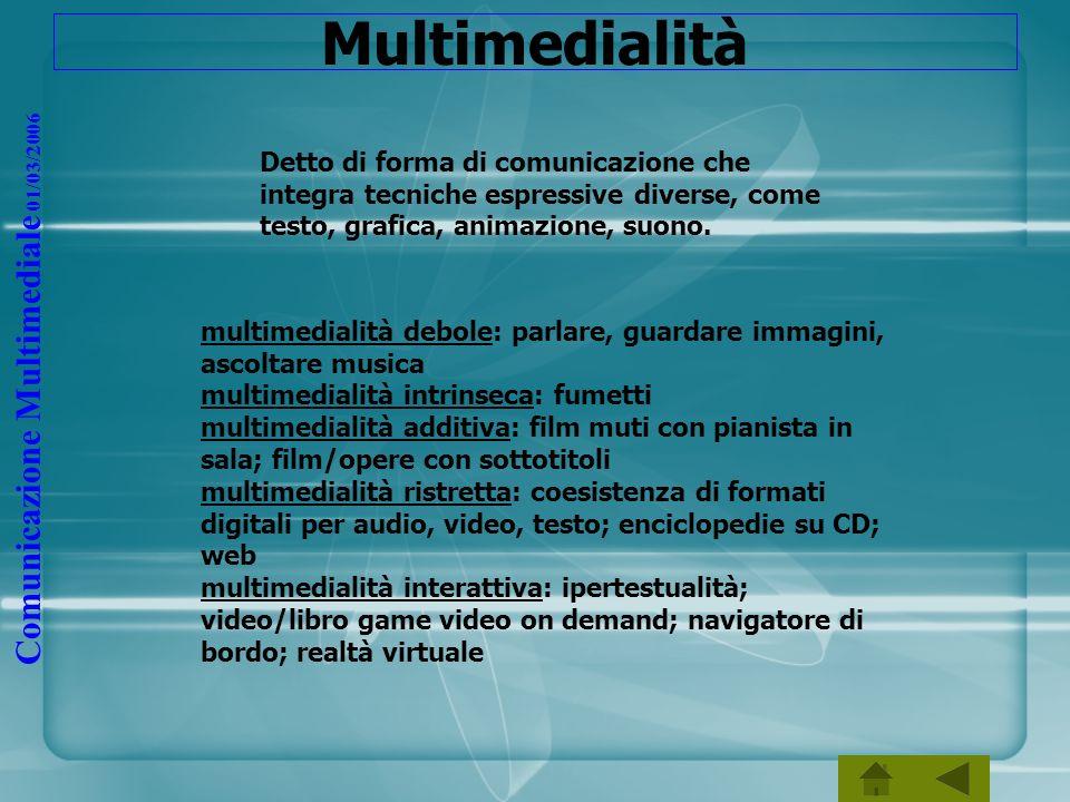 Comunicazione Multimediale 01/03/2006 Multimedialità Detto di forma di comunicazione che integra tecniche espressive diverse, come testo, grafica, ani