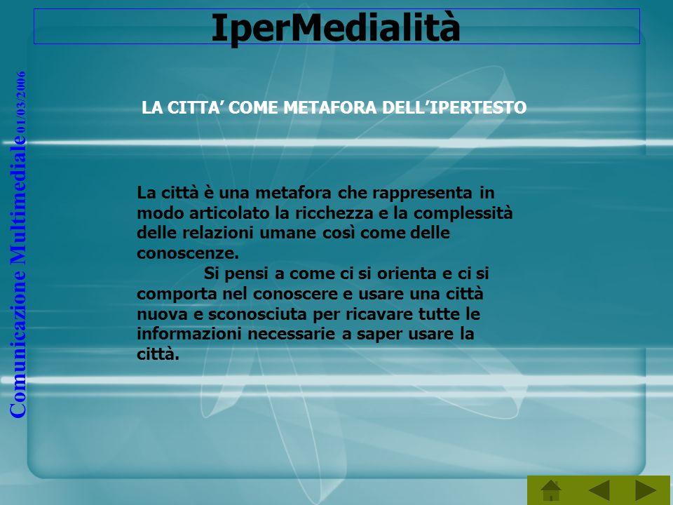 Comunicazione Multimediale 01/03/2006 IperMedialità LA CITTA COME METAFORA DELLIPERTESTO La città è una metafora che rappresenta in modo articolato la