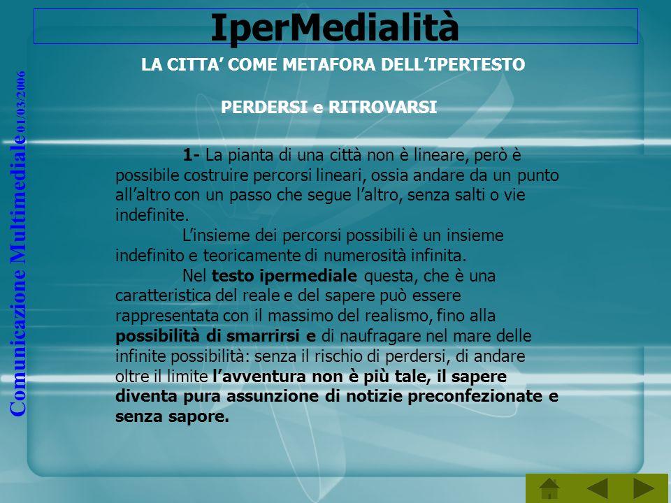 Comunicazione Multimediale 01/03/2006 IperMedialità LA CITTA COME METAFORA DELLIPERTESTO PERDERSI e RITROVARSI 1- La pianta di una città non è lineare