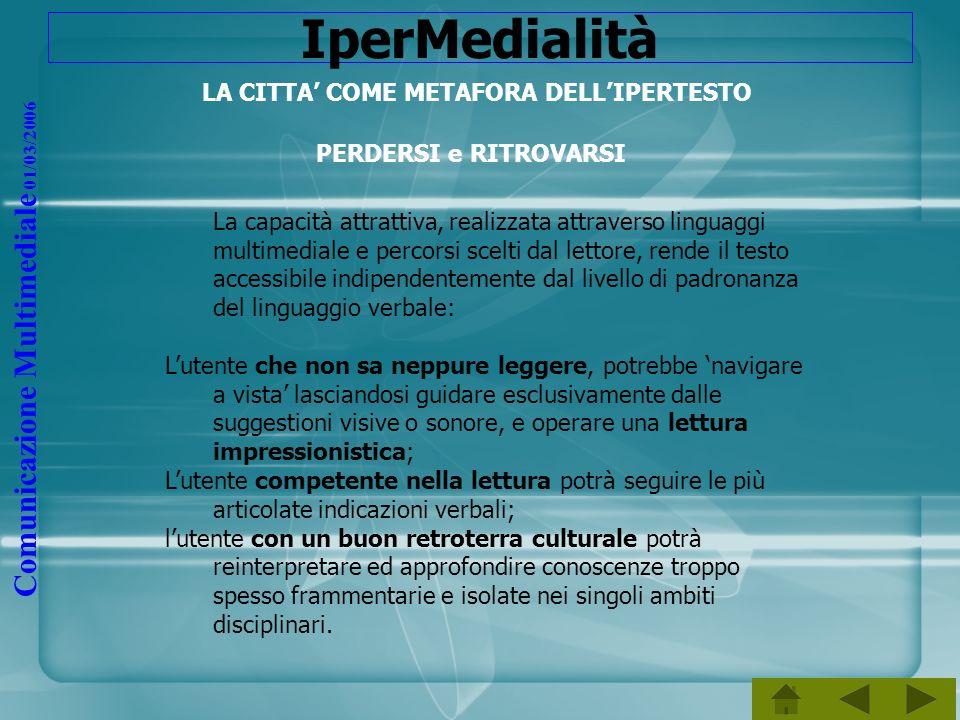 Comunicazione Multimediale 01/03/2006 IperMedialità LA CITTA COME METAFORA DELLIPERTESTO PERDERSI e RITROVARSI La capacità attrattiva, realizzata attr