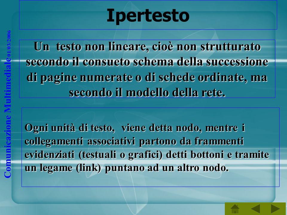 Comunicazione Multimediale 01/03/2006 Ipertesto Ogni unità di testo, viene detta nodo, mentre i collegamenti associativi partono da frammenti evidenzi