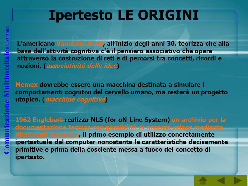 Comunicazione Multimediale 01/03/2006 Ipertesto LE ORIGINI Lamericano Vannevar Bush, allinizio degli anni 30, teorizza che alla base dell'attività cog