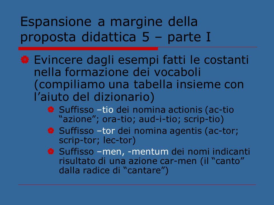 Espansione a margine della proposta didattica 5 – parte I Evincere dagli esempi fatti le costanti nella formazione dei vocaboli (compiliamo una tabell