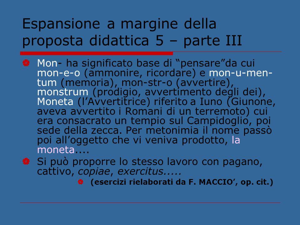 Espansione a margine della proposta didattica 5 – parte III Mon- ha significato base di pensareda cui mon-e-o (ammonire, ricordare) e mon-u-men- tum (