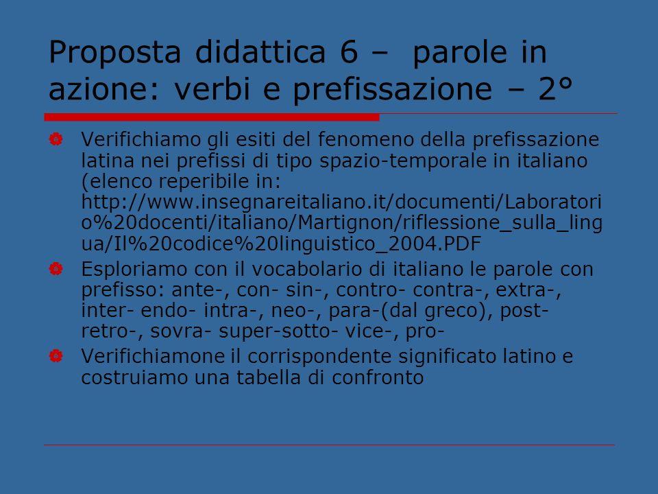 Proposta didattica 6 – parole in azione: verbi e prefissazione – 2° Verifichiamo gli esiti del fenomeno della prefissazione latina nei prefissi di tip