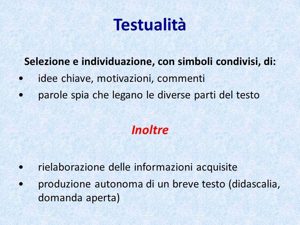 Testualità Selezione e individuazione, con simboli condivisi, di: idee chiave, motivazioni, commenti parole spia che legano le diverse parti del testo