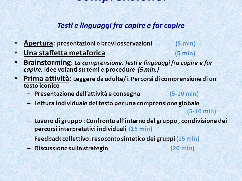 Comprensione. Testi e linguaggi fra capire e far capire Apertura : presentazioni e brevi osservazioni (5 min) Una staffetta metaforica (5 min) Brainst