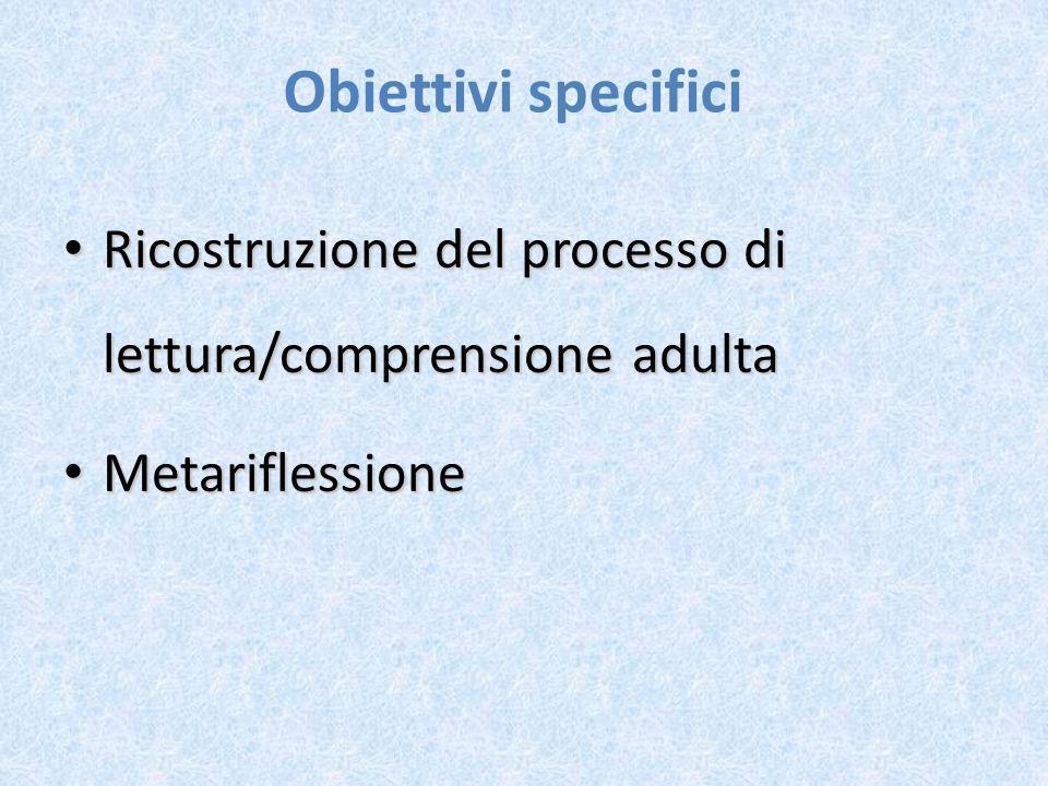 Obiettivi specifici Ricostruzione del processo di lettura/comprensione adulta Ricostruzione del processo di lettura/comprensione adulta Metariflession