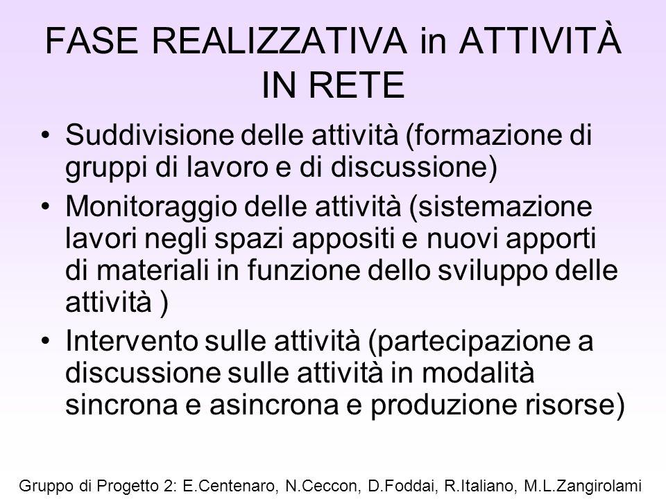 FASE REALIZZATIVA in ATTIVITÀ IN RETE Suddivisione delle attività (formazione di gruppi di lavoro e di discussione) Monitoraggio delle attività (siste