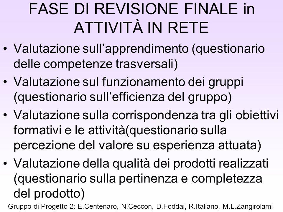 FASE DI REVISIONE FINALE in ATTIVITÀ IN RETE Valutazione sullapprendimento (questionario delle competenze trasversali) Valutazione sul funzionamento d