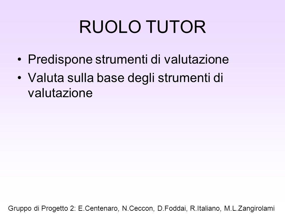 RUOLO TUTOR Predispone strumenti di valutazione Valuta sulla base degli strumenti di valutazione Gruppo di Progetto 2: E.Centenaro, N.Ceccon, D.Foddai