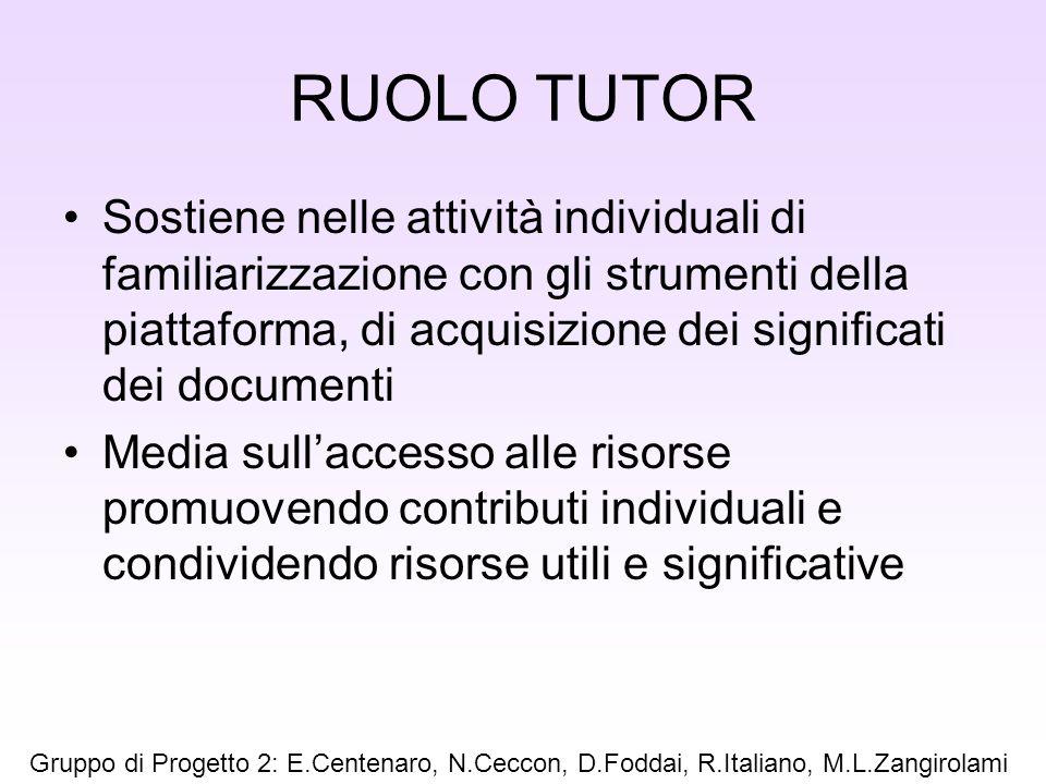RUOLO TUTOR Sostiene nelle attività individuali di familiarizzazione con gli strumenti della piattaforma, di acquisizione dei significati dei document