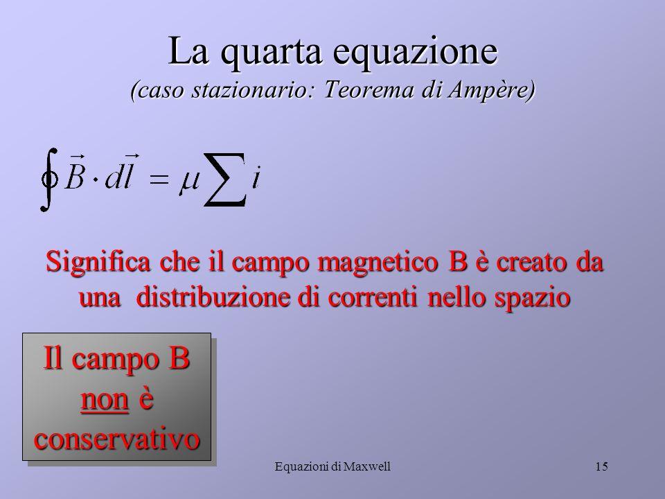 Equazioni di Maxwell14 La terza equazione (caso generale) La circuitazione del campo elettrico è la variazione di flusso magnetico La circuitazione del campo elettrico è la variazione di flusso magnetico In condizioni stazionarie il campo elettrico è conservativo In condizioni stazionarie il campo elettrico è conservativo