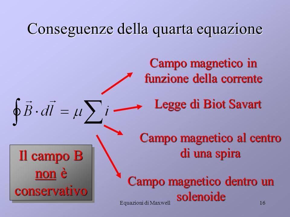 Equazioni di Maxwell15 La quarta equazione (caso stazionario: Teorema di Ampère) Il campo B non è conservativo Significa che il campo magnetico B è creato da una distribuzione di correnti nello spazio