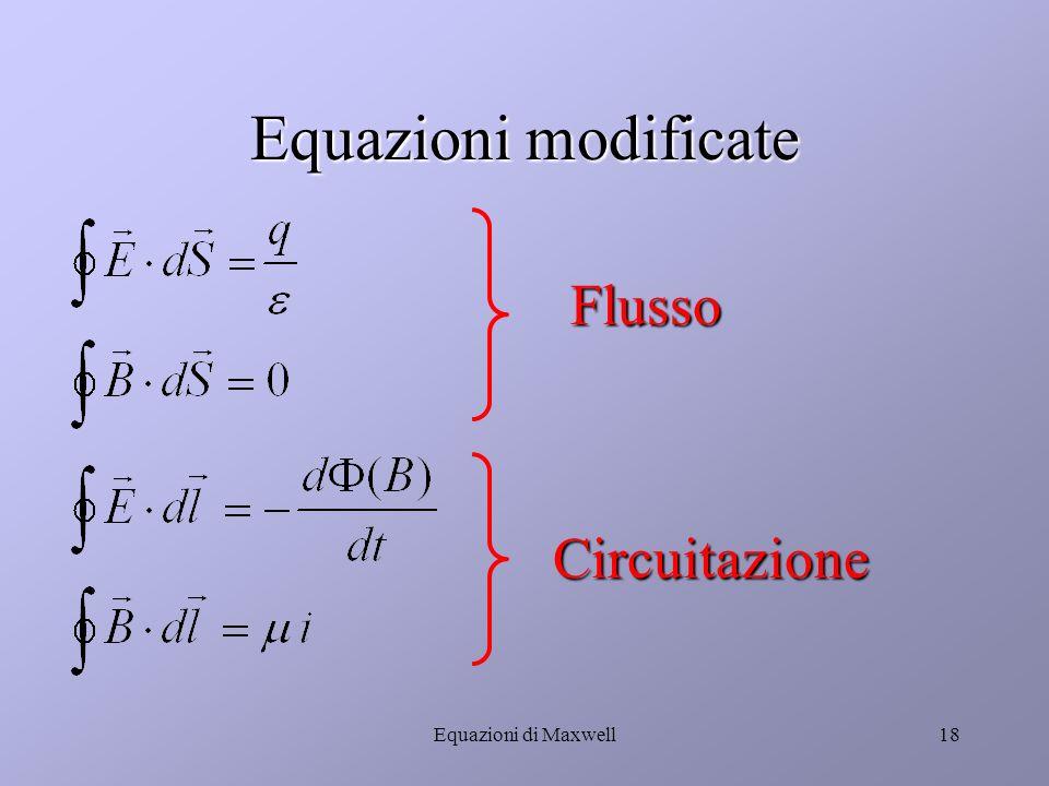 Equazioni di Maxwell17 B = f (i) Conseguenze della quarta equazione (2)