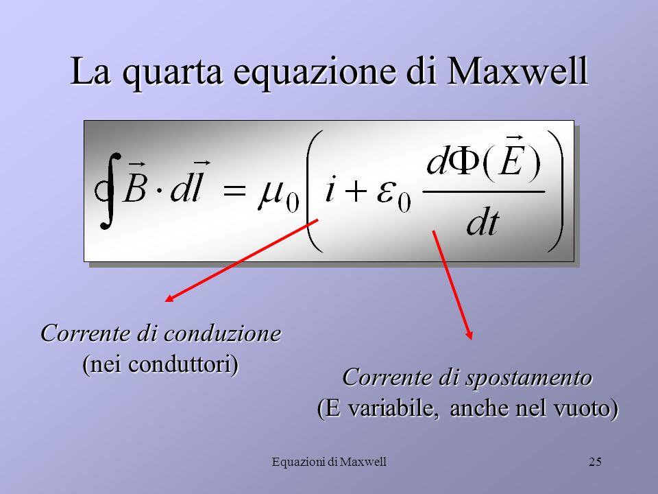 Equazioni di Maxwell24 La corrente di spostamento Q BB EQ Q = C V = S E = Q = C V = S E = dQ/dt = d /dt corrente di spostamento Q = C V = S E = Q = C V = S E = dQ/dt = d /dt corrente di spostamento La carica Q che si accumula sulle piastre varia nel tempo