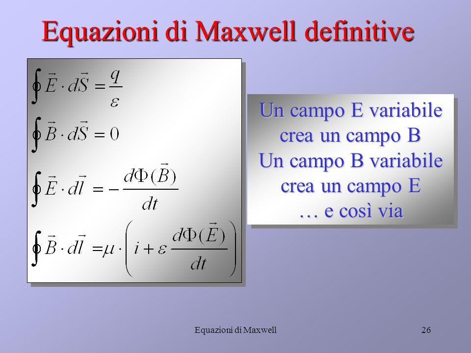 Equazioni di Maxwell25 La quarta equazione di Maxwell Corrente di conduzione (nei conduttori) Corrente di spostamento (E variabile, anche nel vuoto)