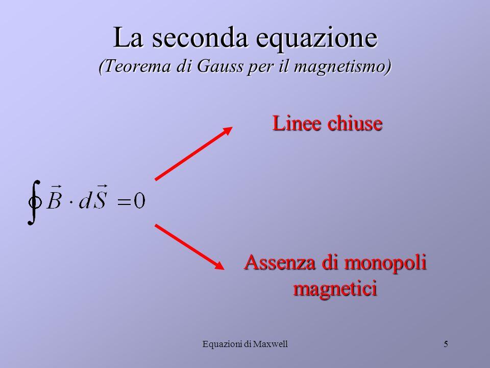 Equazioni di Maxwell4 Conseguenze della prima equazione Campo E in funzione della distribuzione di cariche Forza di Coulomb Distribuzione superficiale delle cariche Capacità di un condensatore
