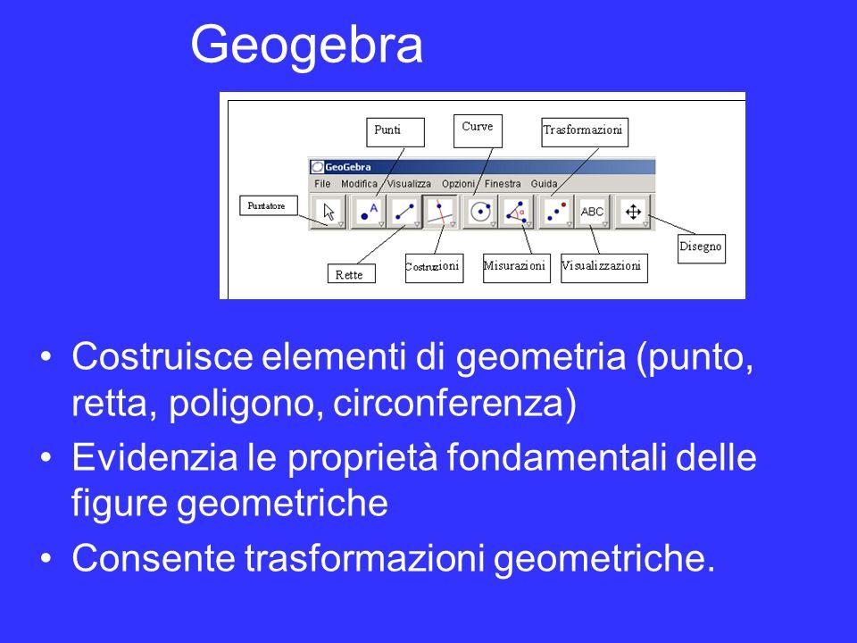 Geogebra Costruisce elementi di geometria (punto, retta, poligono, circonferenza) Evidenzia le proprietà fondamentali delle figure geometriche Consent