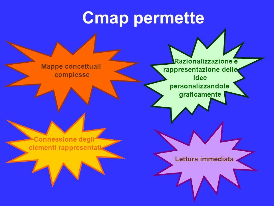 Cmap permette Mappe concettuali complesse Razionalizzazione e rappresentazione delle idee personalizzandole graficamente Lettura immediata Connessione