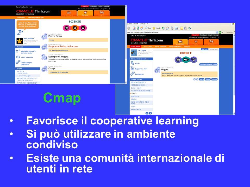 Favorisce il cooperative learning Si può utilizzare in ambiente condiviso Esiste una comunità internazionale di utenti in rete Cmap