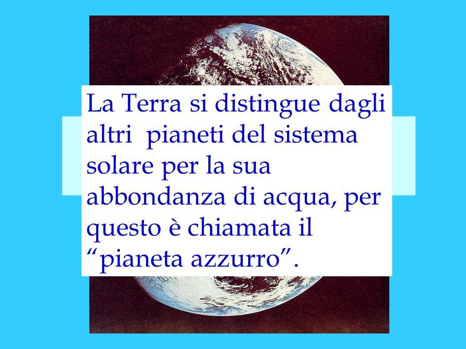 IL CICLO DELLACQUA La Terra si distingue dagli altri pianeti del sistema solare per la sua abbondanza di acqua, per questo è chiamata il pianeta azzur