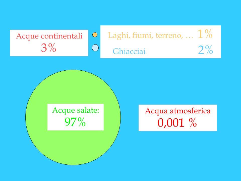 Acque salate: 97% Laghi, fiumi, terreno, … 1% Ghiacciai 2% Acque continentali 3% Acqua atmosferica 0,001 %
