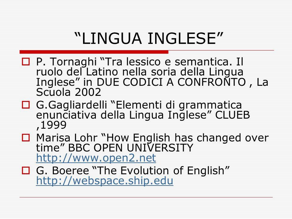 LINGUA INGLESE P. Tornaghi Tra lessico e semantica. Il ruolo del Latino nella soria della Lingua Inglese in DUE CODICI A CONFRONTO, La Scuola 2002 G.G
