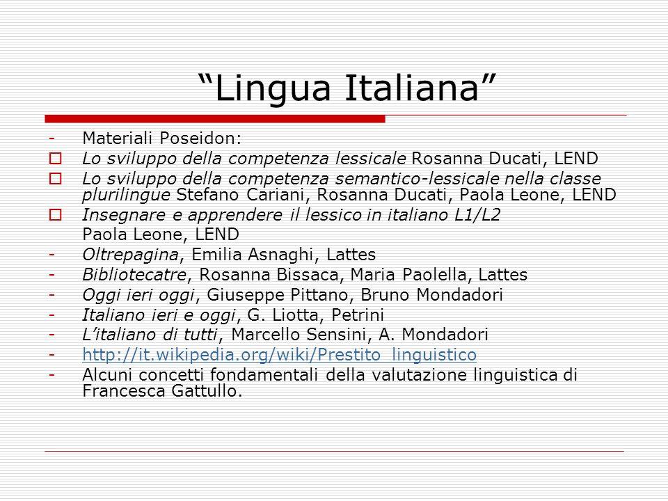 Lingua Italiana -Materiali Poseidon: Lo sviluppo della competenza lessicale Rosanna Ducati, LEND Lo sviluppo della competenza semantico-lessicale nell
