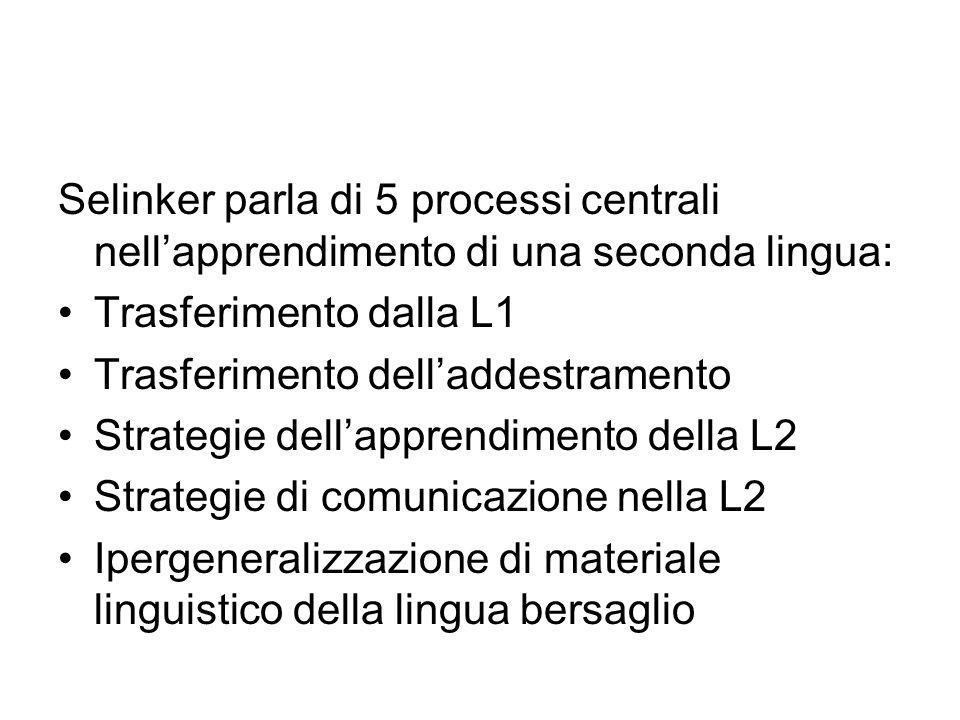 Selinker parla di 5 processi centrali nellapprendimento di una seconda lingua: Trasferimento dalla L1 Trasferimento delladdestramento Strategie dellapprendimento della L2 Strategie di comunicazione nella L2 Ipergeneralizzazione di materiale linguistico della lingua bersaglio