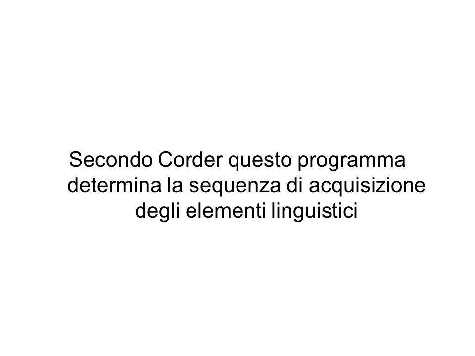 Secondo Corder questo programma determina la sequenza di acquisizione degli elementi linguistici