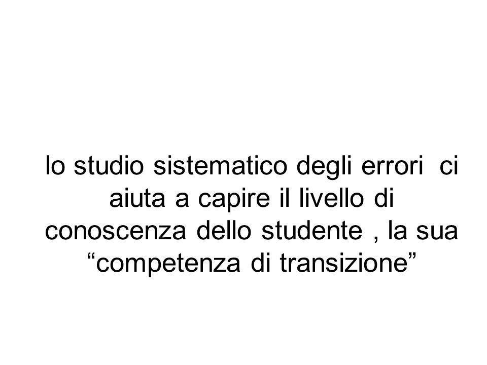 lo studio sistematico degli errori ci aiuta a capire il livello di conoscenza dello studente, la sua competenza di transizione