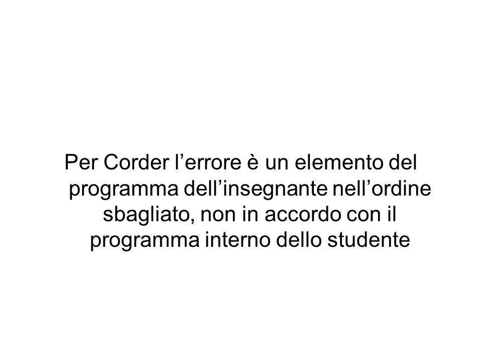 Per Corder lerrore è un elemento del programma dellinsegnante nellordine sbagliato, non in accordo con il programma interno dello studente