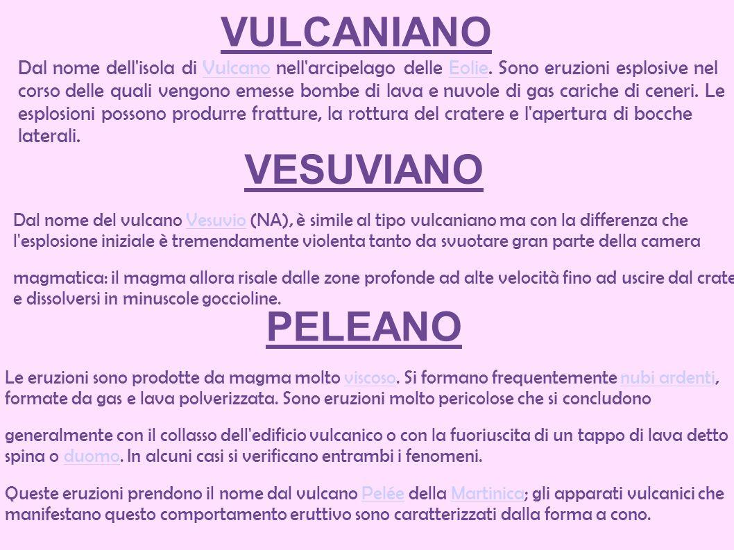 VULCANIANO Dal nome dell'isola di Vulcano nell'arcipelago delle Eolie. Sono eruzioni esplosive nel corso delle quali vengono emesse bombe di lava e nu