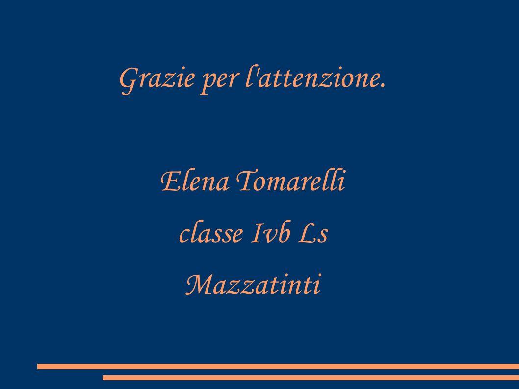 Grazie per l'attenzione. Elena Tomarelli classe Ivb Ls Mazzatinti