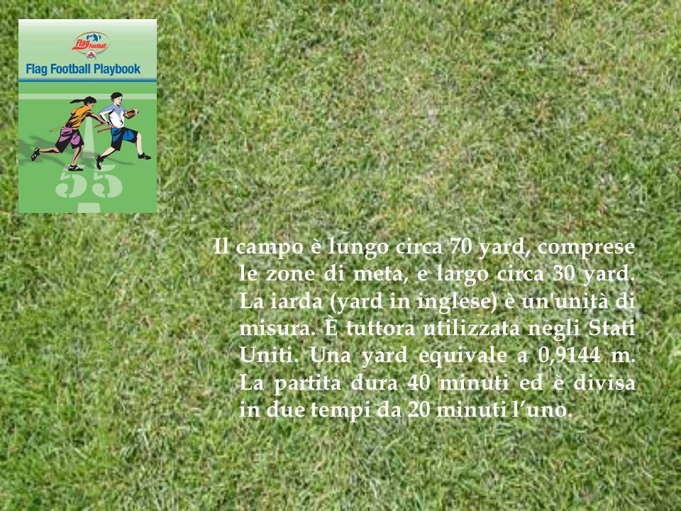 Il campo è lungo circa 70 yard, comprese le zone di meta, e largo circa 30 yard.