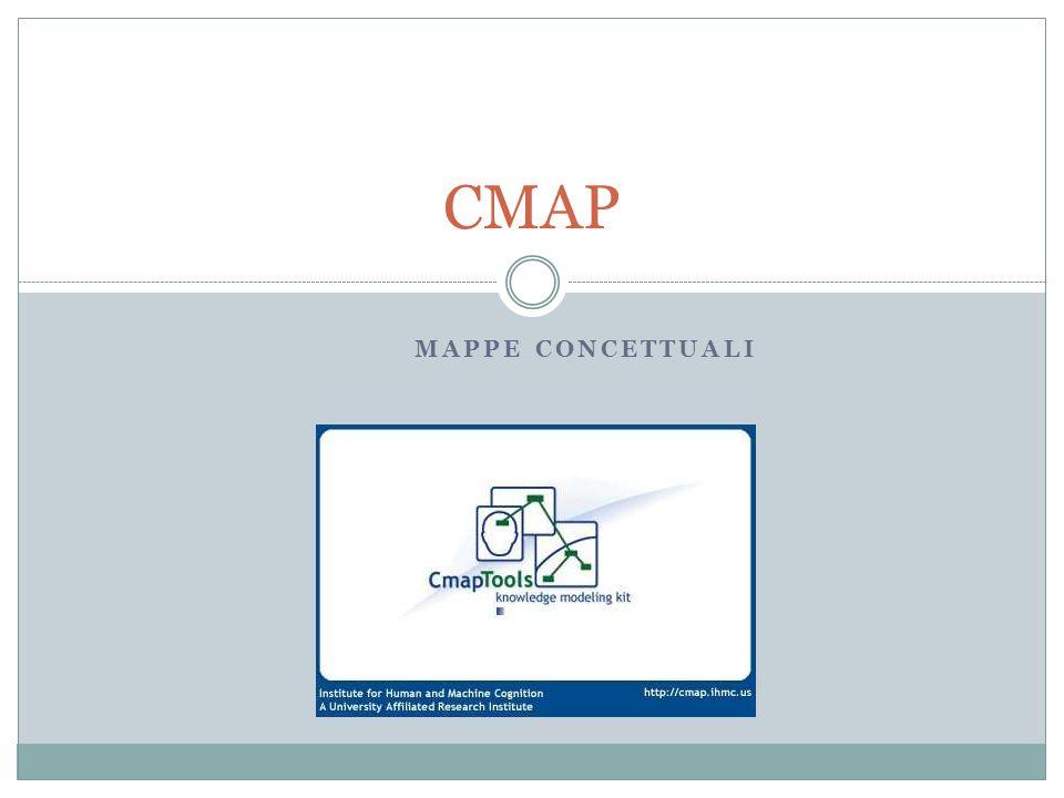 Inserire Risorse in una CMap In una CMap è possibile inserire delle Risorse tra cui Documenti di testo in formati vari File Video Immagini Altre Cmap File audio Presentazioni Pagine web File eseguibili In tal modo una mappa può diventare la struttura base per un ipertesto o unipermedium.